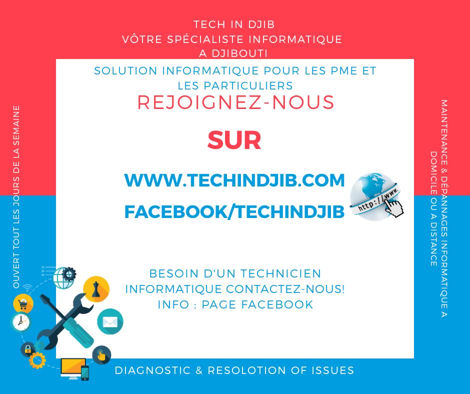 Tech In Djib   Votre spécialiste Informatique , Dépannage et Solution Informatique pour PME et Particulier a Djibouti.